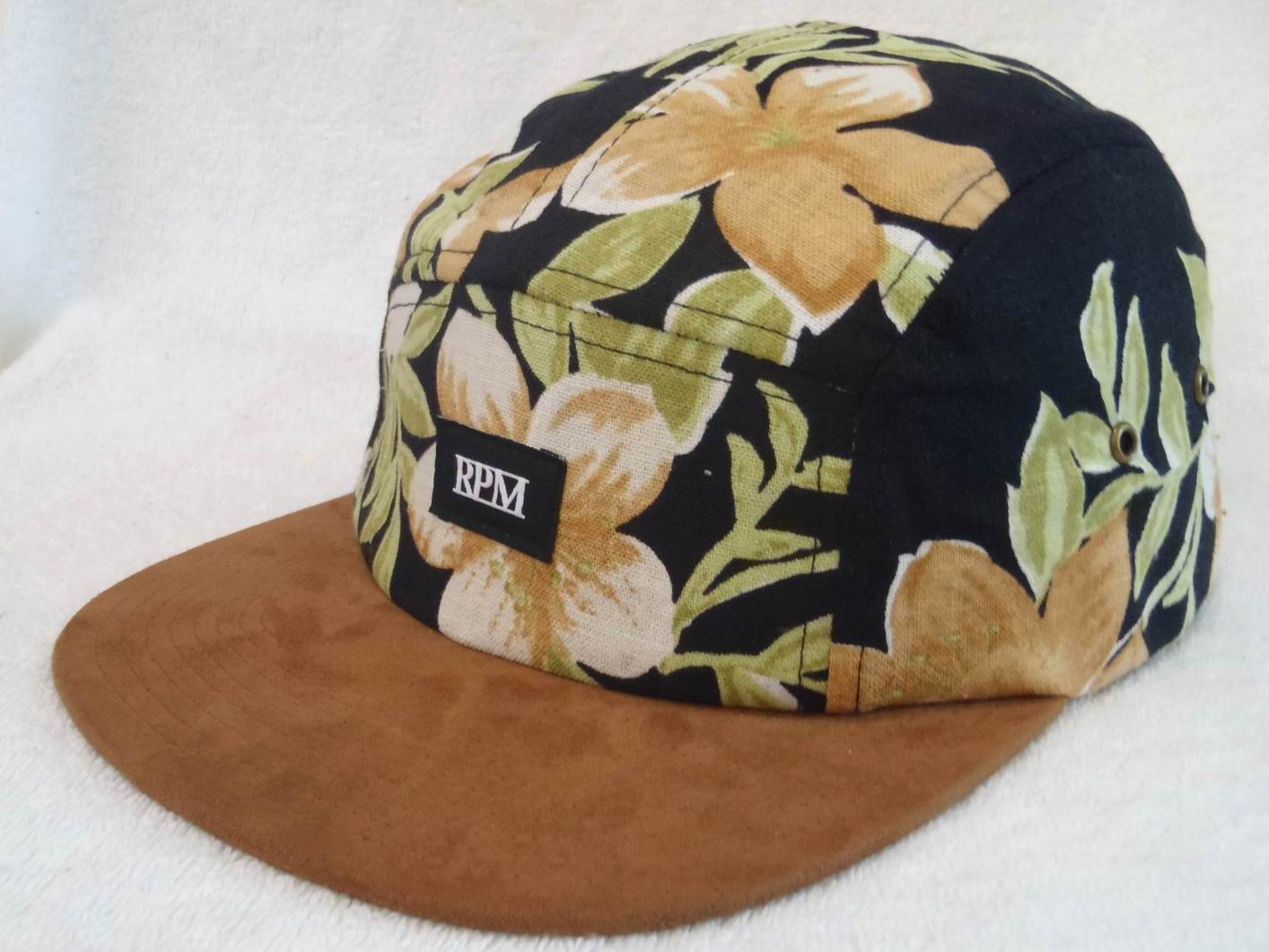 76fd6ace6180f Floral Fabric 5 Panel Camp Cap With Suede Visor
