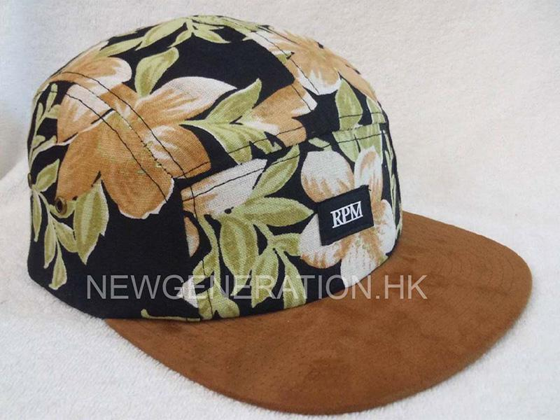 Floral Fabric 5 Panel Camp Cap With Suede Visor