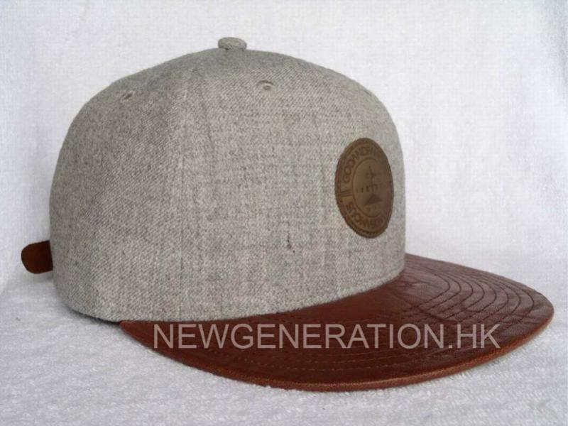Wool Snapback Cap With Leather Patch