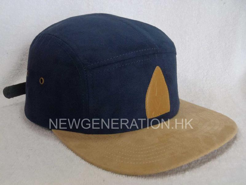 Suede 5 Panel Camp Cap With Pu Leather Patch1