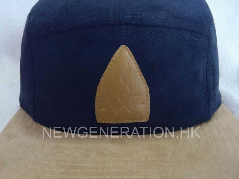 Suede 5 Panel Camp Cap With Pu Leather Patch4