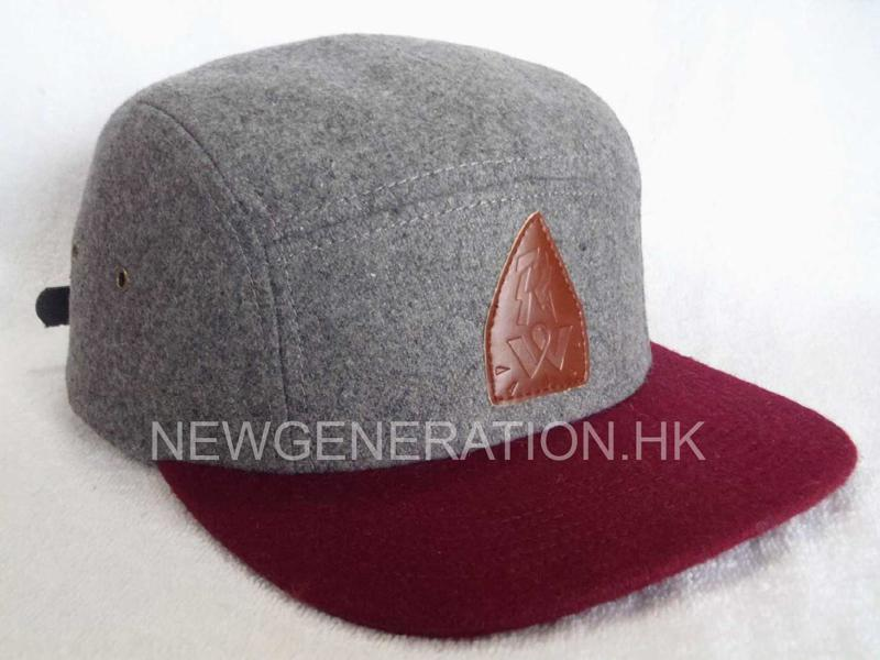 Hairy Wool 5 Panel Camp Cap With Pu Deboss Leather Patch1