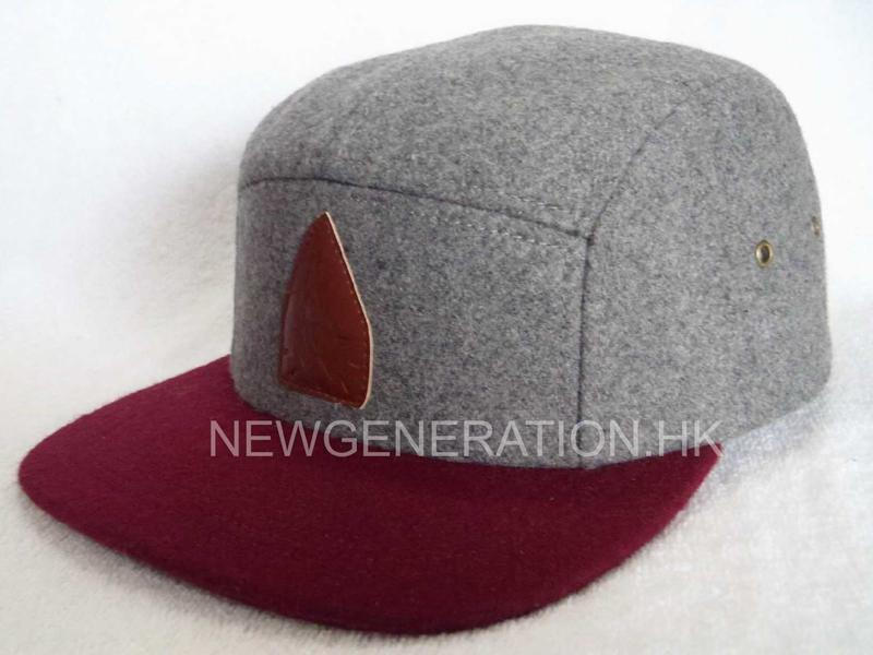 Hairy Wool 5 Panel Camp Cap With Pu Deboss Leather Patch2
