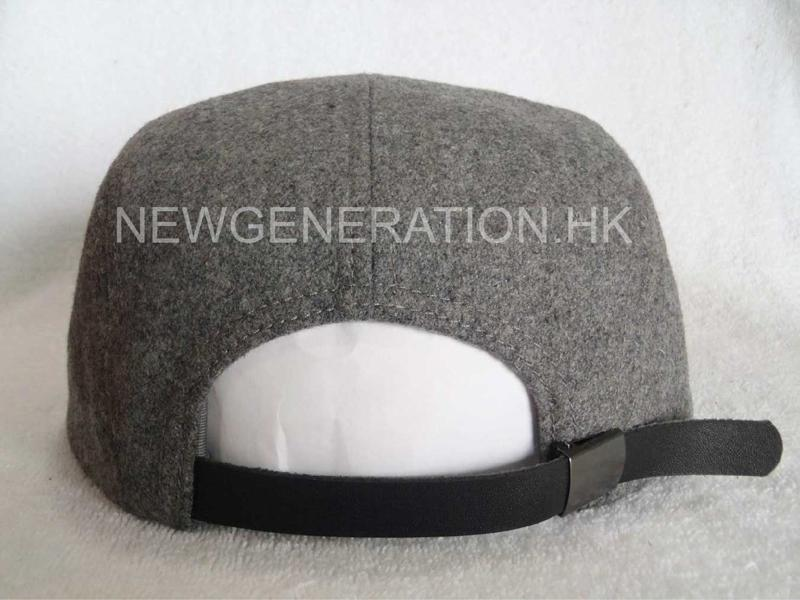 Hairy Wool 5 Panel Camp Cap With Pu Deboss Leather Patch5