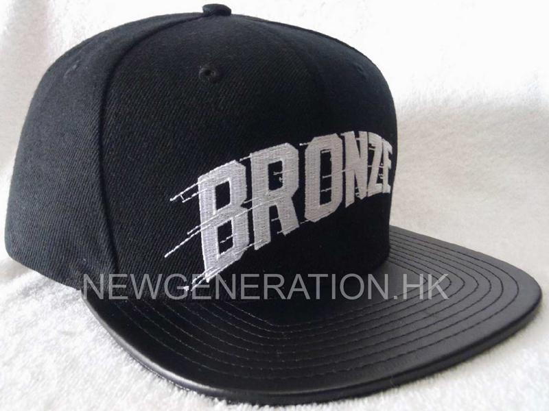 Acrylic Snapback Cap With Flat Embroidery And Leather Brim1