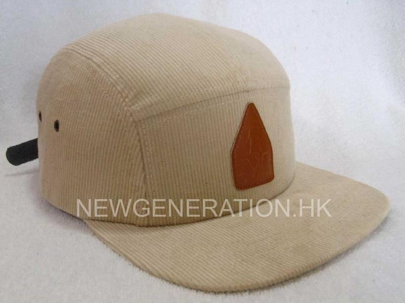 Corduroy Camp Cap With Pu Deboss Leather Patch1