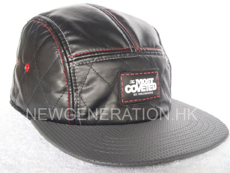 Leather 5 Panel Camp Cap With Print Leather Patch