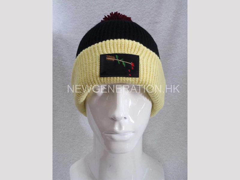 Acrylic Beanie With Embroidery Leather Patch