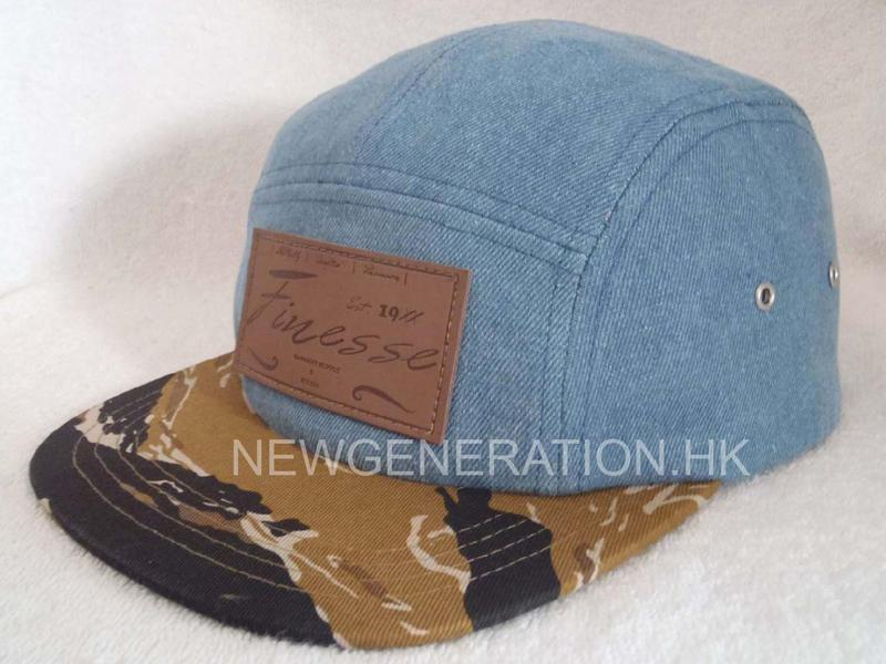 Denim 5 Panel Camp Cap With Deboss Leather Patch2