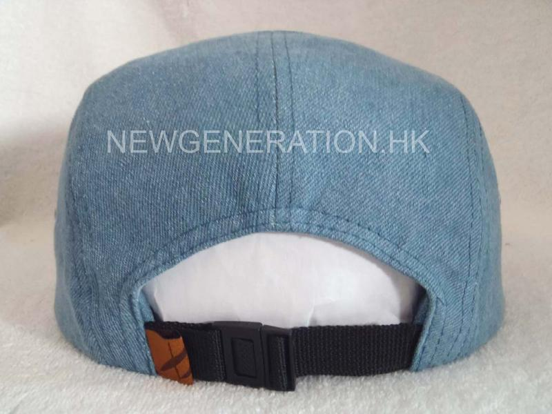 Denim 5 Panel Camp Cap With Deboss Leather Patch5
