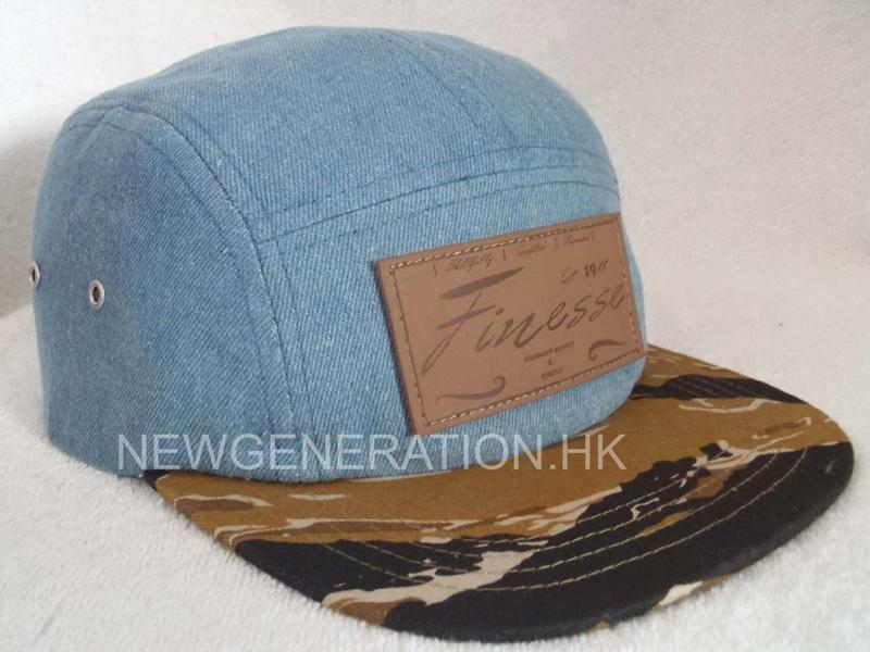 Denim 5 panel Camp Cap With Deboss Leather Patch