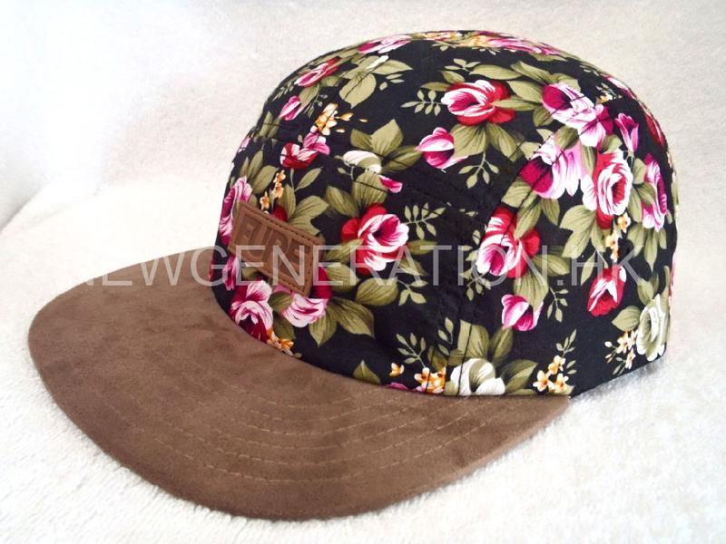 Floral 5panel Camp Cap With Deboss Leather Patch2
