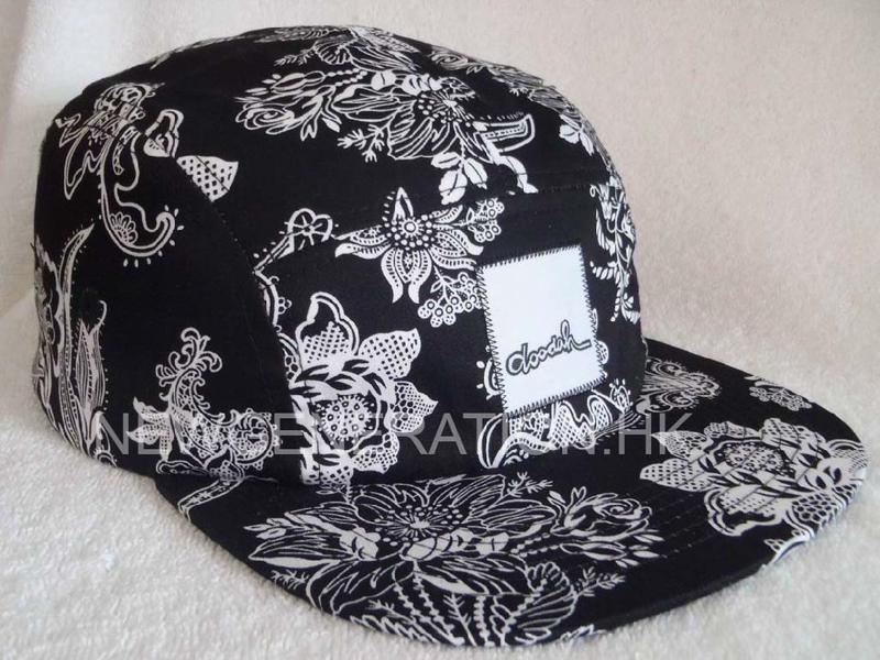 Floral 5 Panel Camp Cap With Woven Label