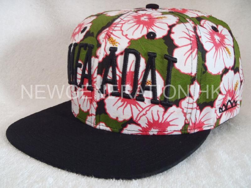 Waterbase Print Floral Snapback Cap With 3d Embroidery Logo2