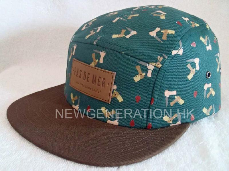Rubber Print 5panel Camp Cap With Deboss Leather Patch2