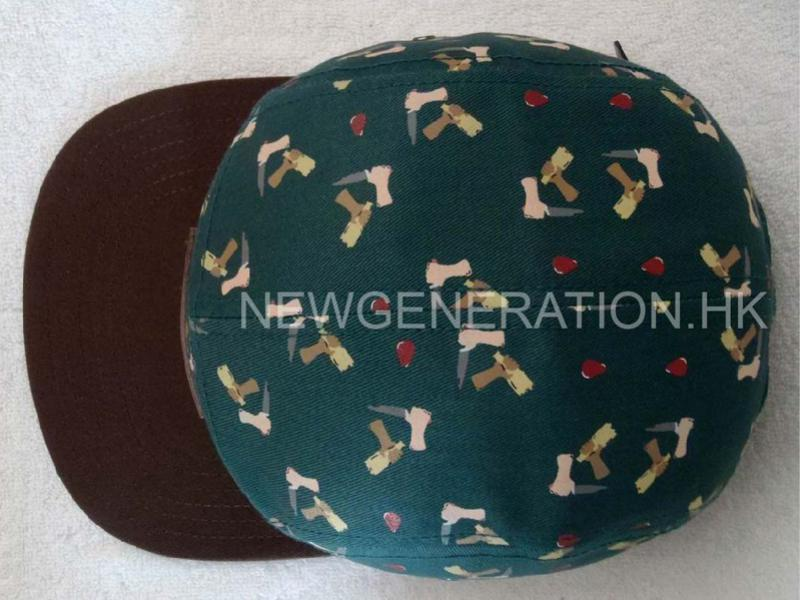 Rubber Print 5panel Camp Cap With Deboss Leather Patch4