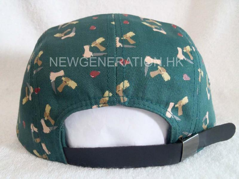 Rubber Print 5panel Camp Cap With Deboss Leather Patch5