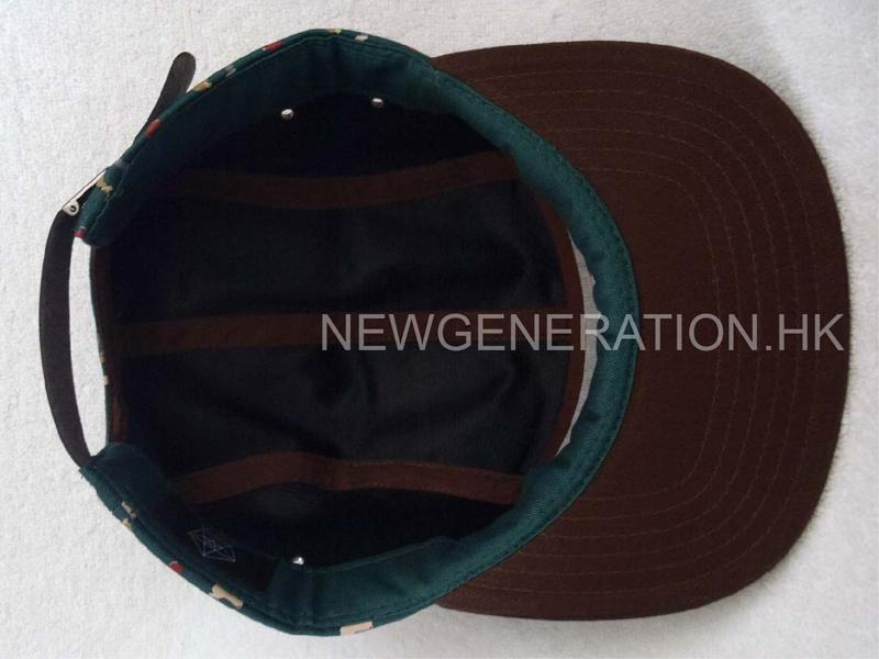 Rubber Print 5panel Camp Cap With Deboss Leather Patch6