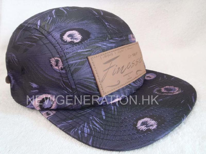 Floral 5 Panel Camp Cap With Deboss Leather Patch