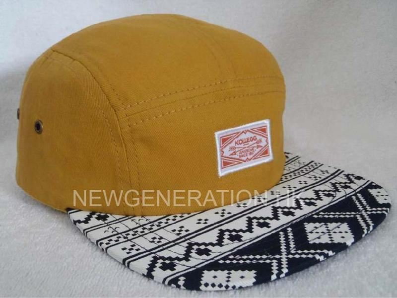 Cotton 5 Panel Camp Cap With Printed Visor
