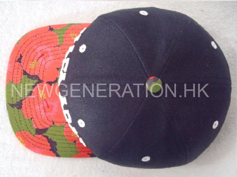 Water Based Print Flower Pattern Snapback Cap With 3d Emb4