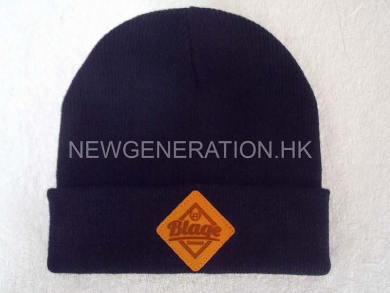Acrylic Beanie With Leather Patch3