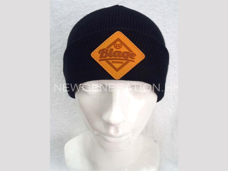Acrylic Beanie With Leather Patch