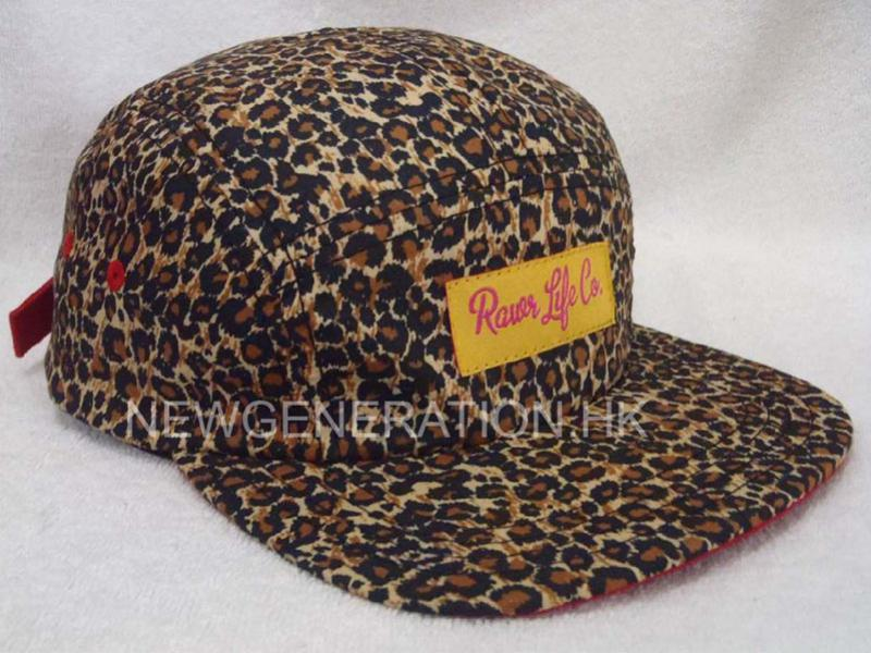 Leopard 5 Panel Camp Cap With Woven Label