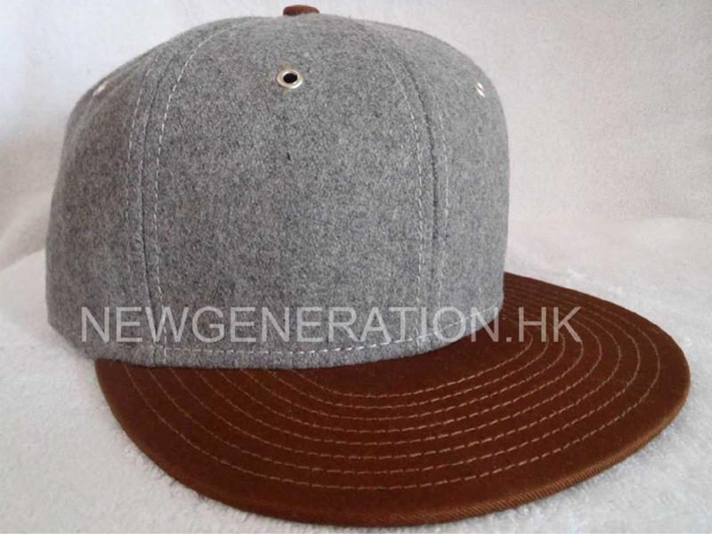 Hairy Wool Embroidery Snapback Cap