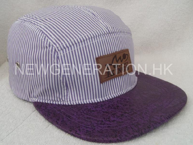 Stripe 5 Panel Cap With Leather Patch