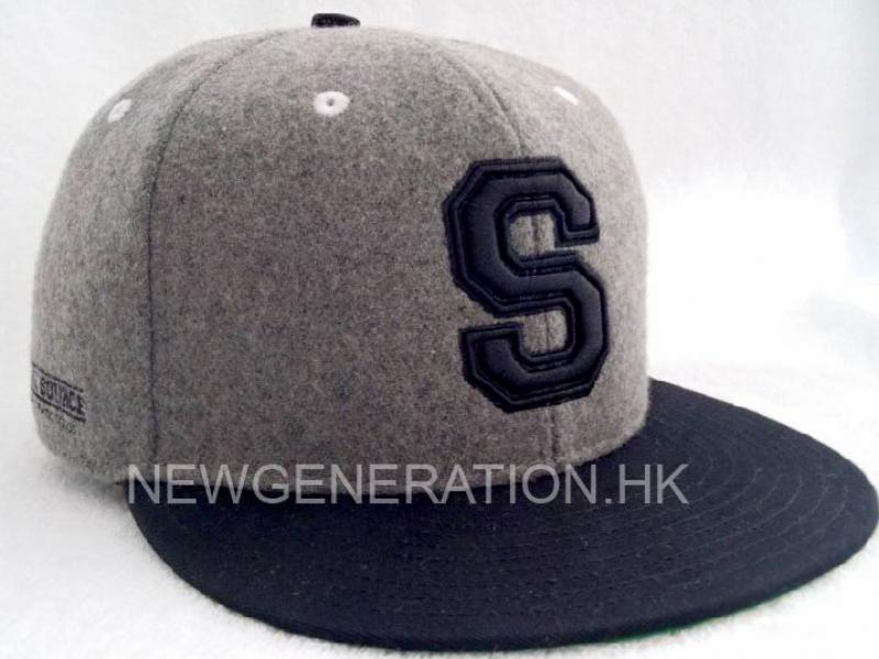 Wool Fabric Snapback Hat with 3D Embroidery