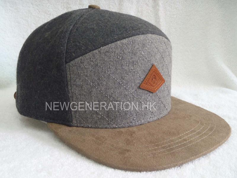 Wool Blend 5 Panel High Profil Strapback Cap With Debossed Leather Patch1