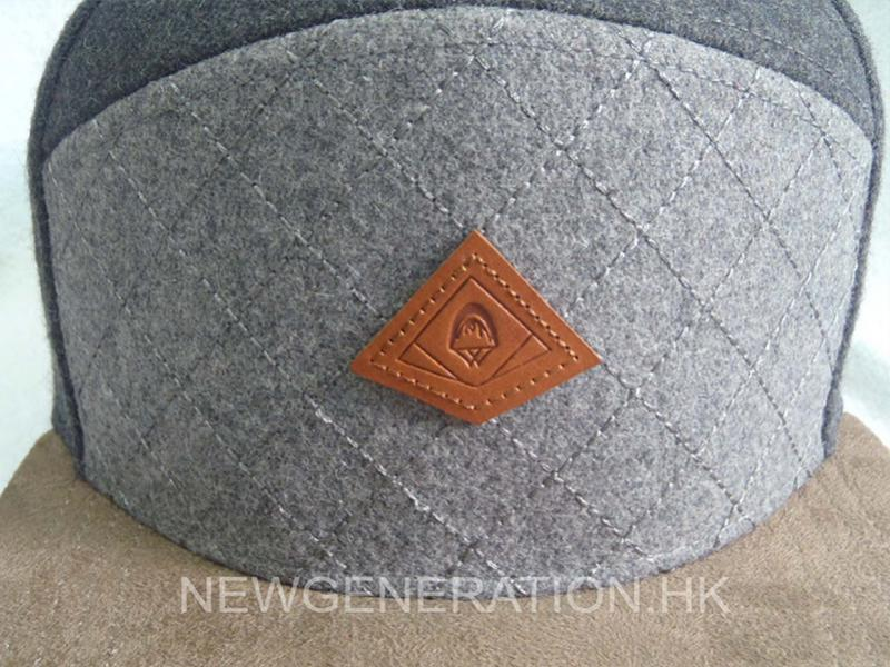 Wool Blend 5 Panel High Profil Strapback Cap With Debossed Leather Patch3
