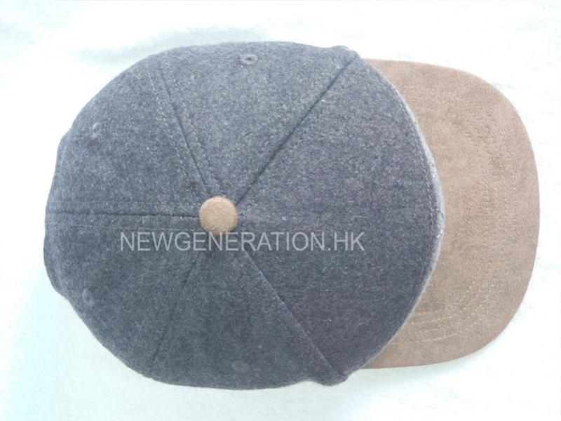 Wool Blend 5 Panel High Profil Strapback Cap With Debossed Leather Patch4