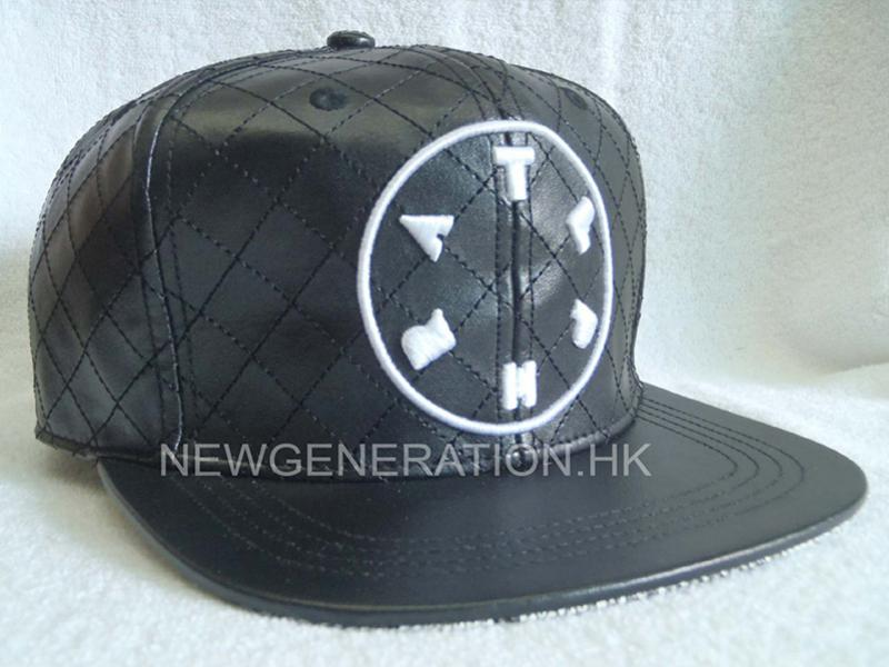 Pu Leather Strapback Cap With Embroidery And Allover Stitching1
