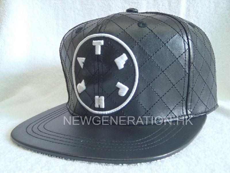 Pu Leather Strapback Cap With Embroidery And Allover Stitching2
