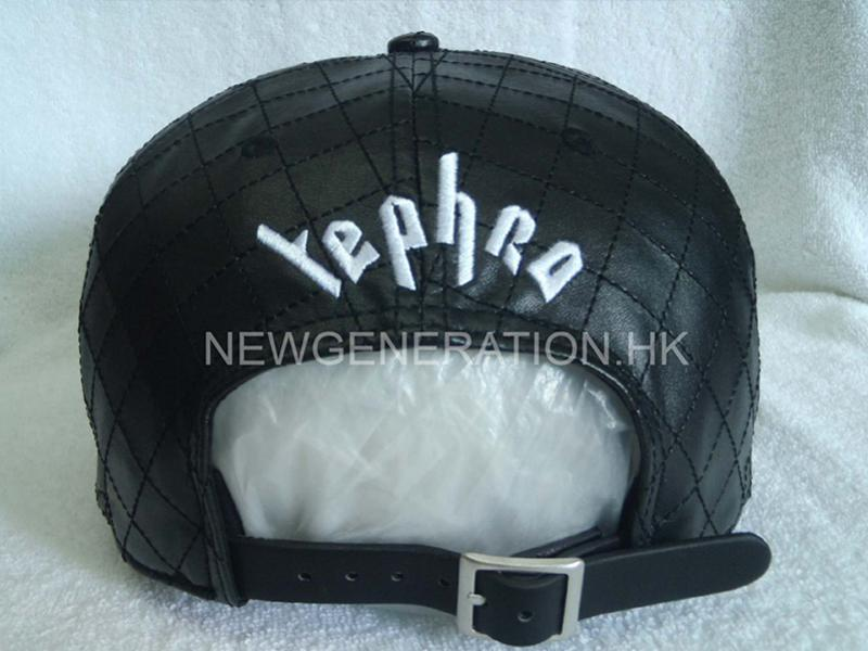 Pu Leather Strapback Cap With Embroidery And Allover Stitching4