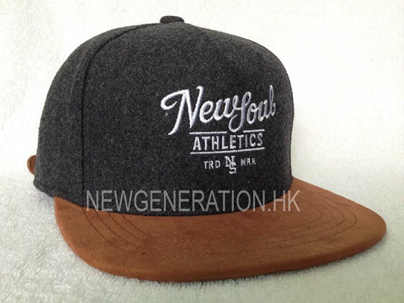 Wool 5 Panel Cap Suede Bill Leather Strap With Flat Embroidery1
