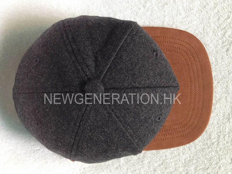 Wool 5 Panel Cap Suede Bill Leather Strap With Flat Embroidery5