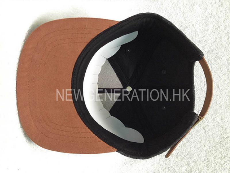 Wool 5 Panel Cap Suede Bill Leather Strap With Flat Embroidery6