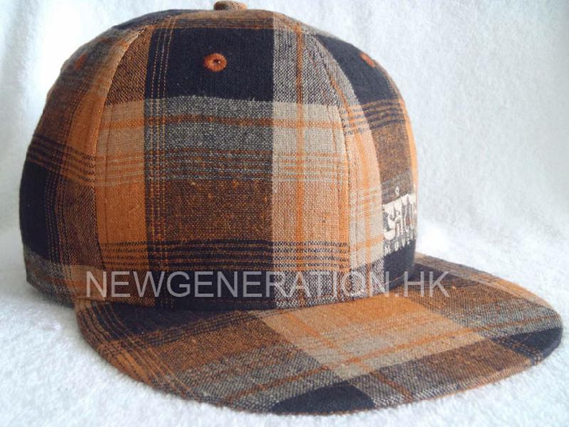 Checker Cotton Snapback Cap with Flat Embroidery