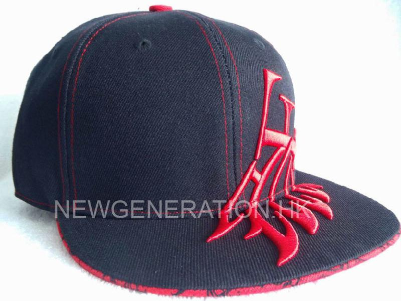 Acrylic Fitted Cap with 3D Embroidery On Front and Visor